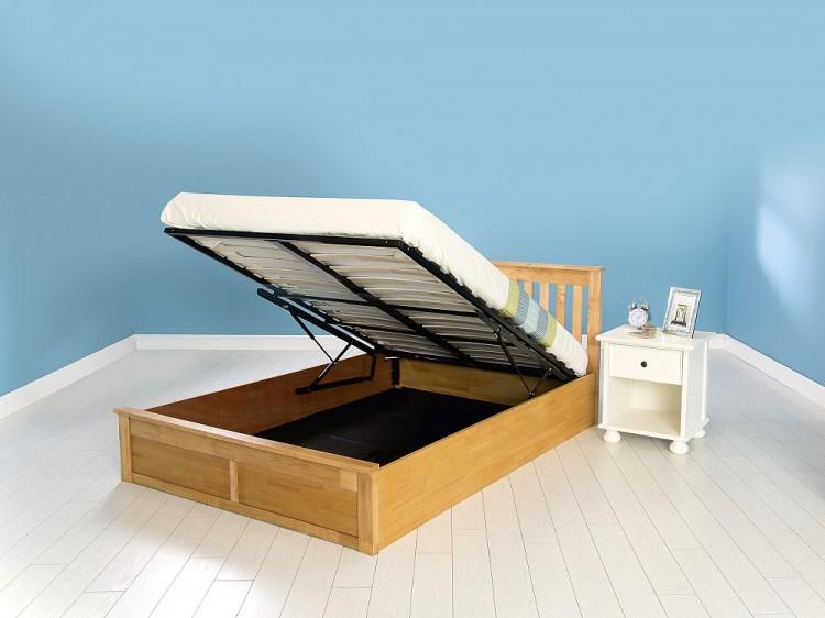 gfw como 4ft6 double oak veneer ottoman lift wooden bed. Black Bedroom Furniture Sets. Home Design Ideas