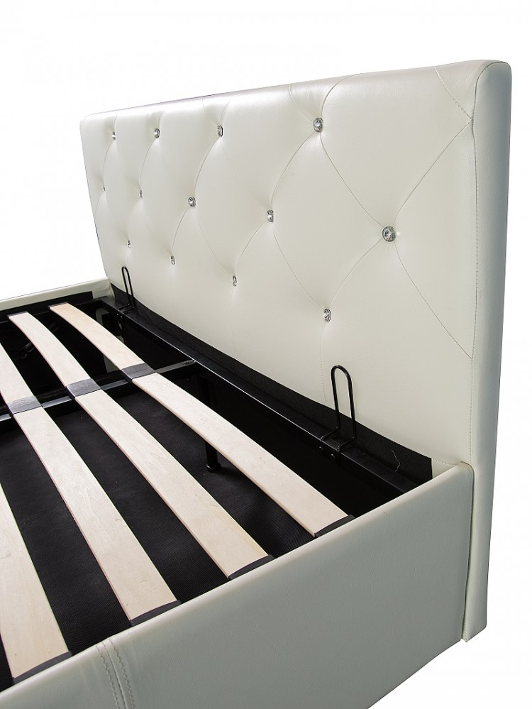 White Faux Leather Ottoman Lift Bed Frame Show More Information