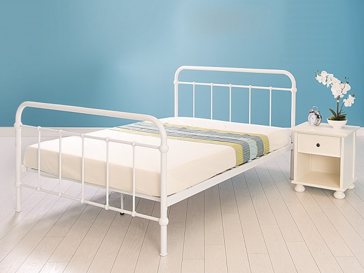 Gfw Phoenix 3ft Single Gloss White Metal Bed Frame By Gfw