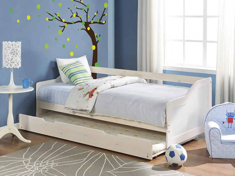 gfw oregon 3ft single white wooden day guest bed frame by gfw. Black Bedroom Furniture Sets. Home Design Ideas