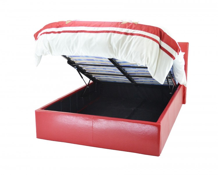 metal beds chameleon 3ft 90cm single red faux leather ottoman bed frame