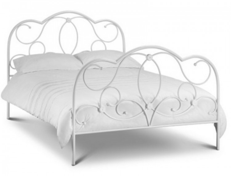 Julian Bowen Arabella 4ft6 Double Stone White Metal Bed Frame by ...