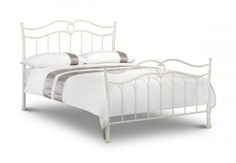 Julian bowen katrina 3ft single stone white metal bed for Different styles of bed frames