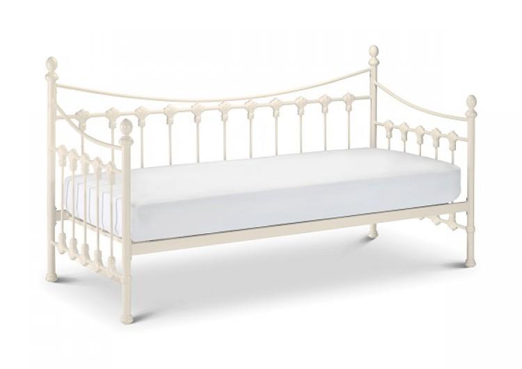 Julian Bowen Versailles 3ft Single Stone White Metal Day Beds