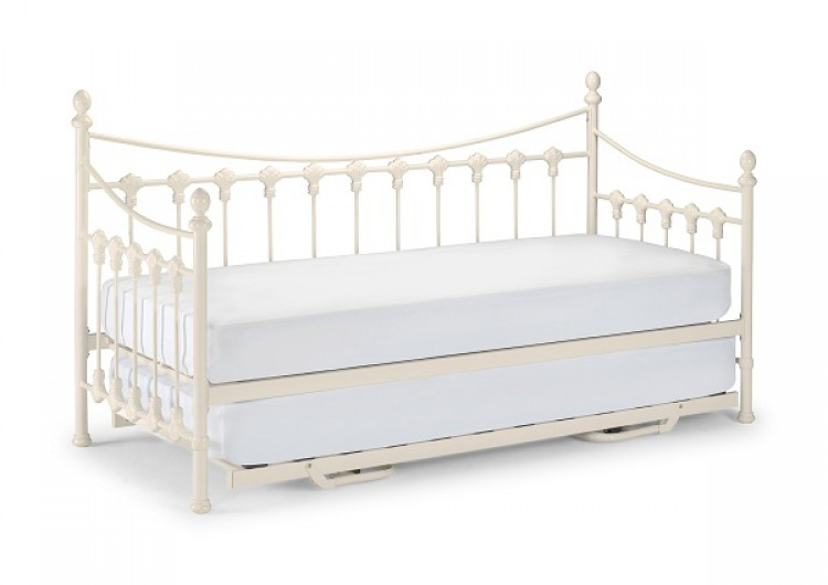 Daybed sofa with trundle - Single Versailles Day Bed With Trundle Stone White Metal Bed Frame Jpg