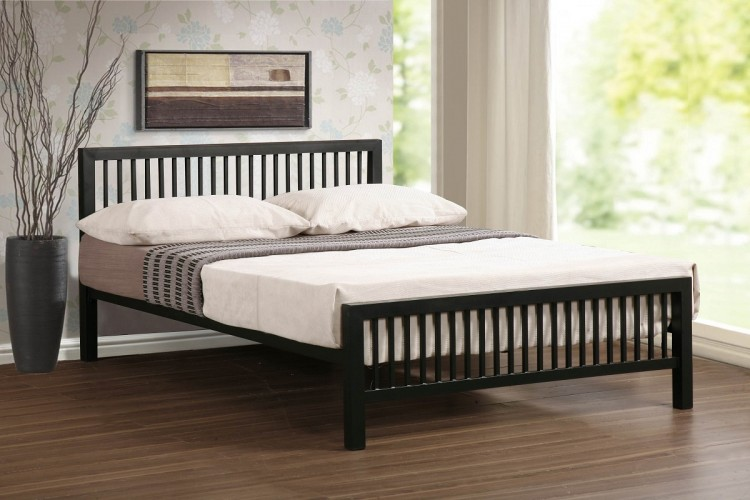 Time Living Meridian 4ft6 Double Black Metal Bed Frame by Time Living