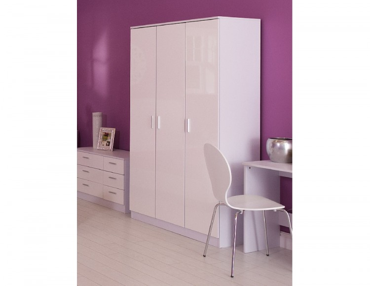 sc 1 st  UK Bed Store & GFW Ottawa 3 Door Wardrobe in White and White Gloss by GFW