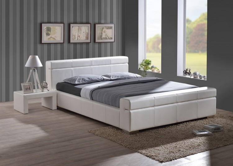 faux leather bed frame high headboard modern design sprung iq