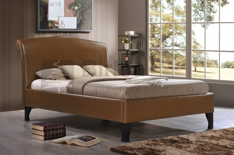 Birlea Andorra Tan 4ft6 Double Faux Leather Bed Frame By