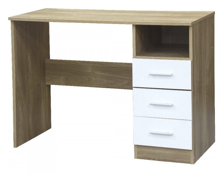 White Gloss Dressing Table And Chair: GFW Ottawa Dressing Table In Oak And White Gloss By GFW