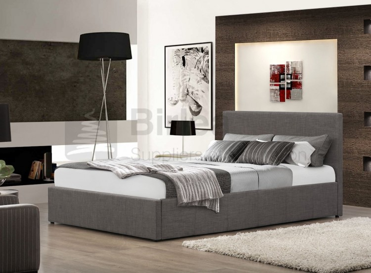 birlea berlin 4ft small double grey fabric ottoman bed by. Black Bedroom Furniture Sets. Home Design Ideas