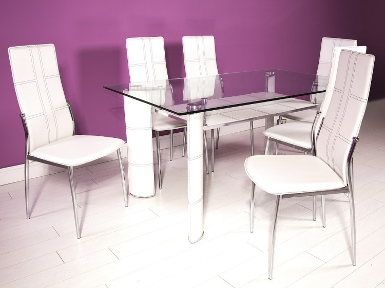 Gfw Montana Dining Table Set With 6 Chairs In White By Gfw