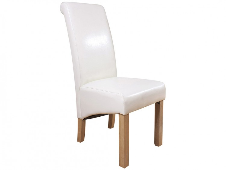 Gfw Hudson Pair Of Cream Faux Leather Dining Chairs By Gfw