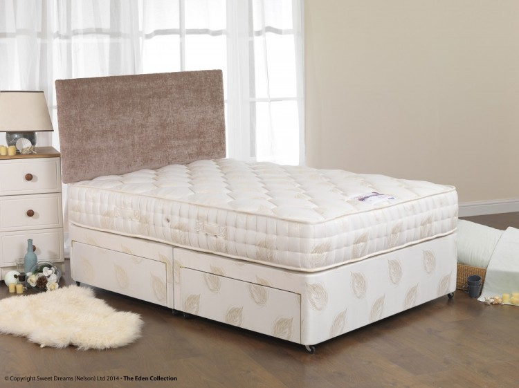 Sweet dreams harp 4ft6 double open coil sprung divan bed for Double divan bed with firm mattress