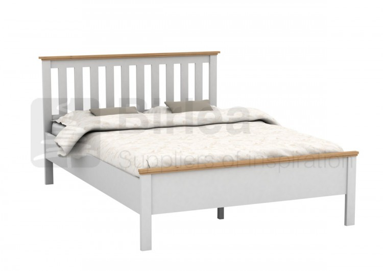 Birlea richmond 4ft6 double white wooden bed frame by birlea for Double twin bed frame