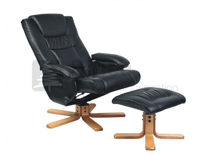 Birlea Nevada Black Faux Leather Swivel Chair And Stool by