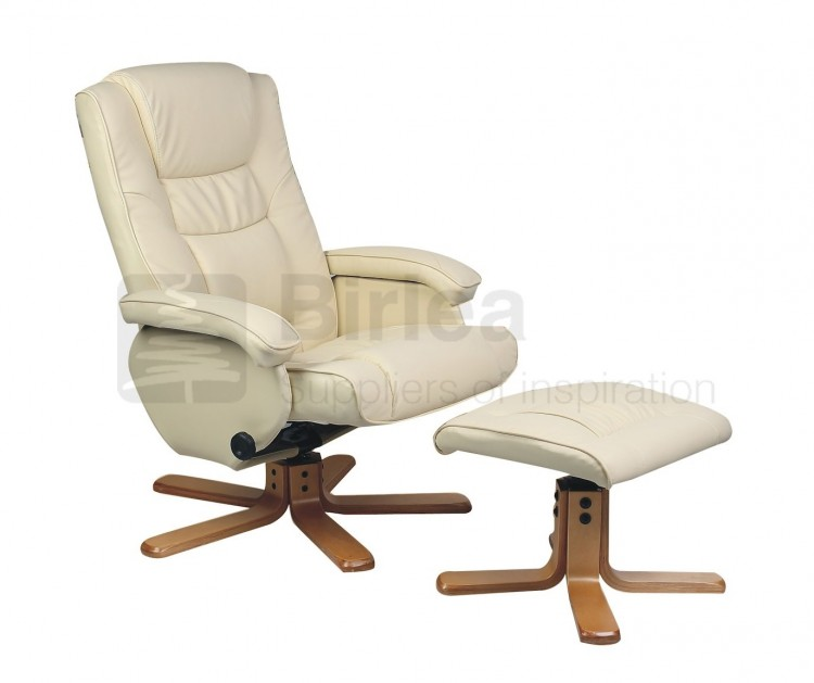 birlea nevada cream faux leather swivel chair and stool by birlea