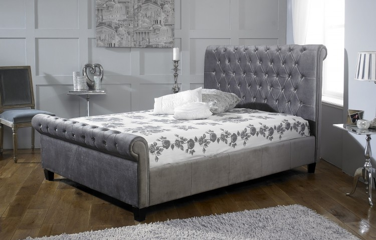 Limelight Orbit 4ft6 Double Plush Silver Velvet Fabric Bed Frame By Beds