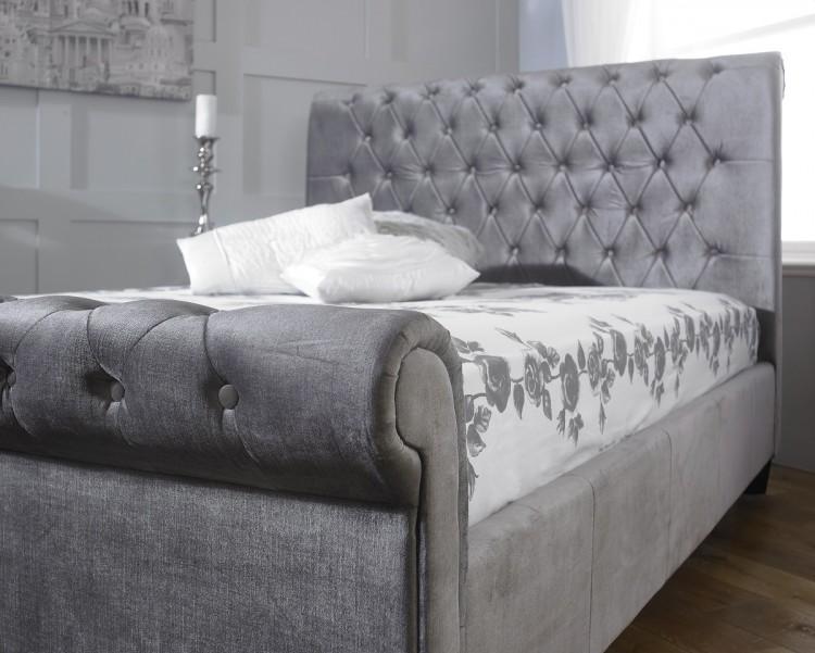 Limelight Orbit 5ft Kingsize Plush Silver Velvet Fabric