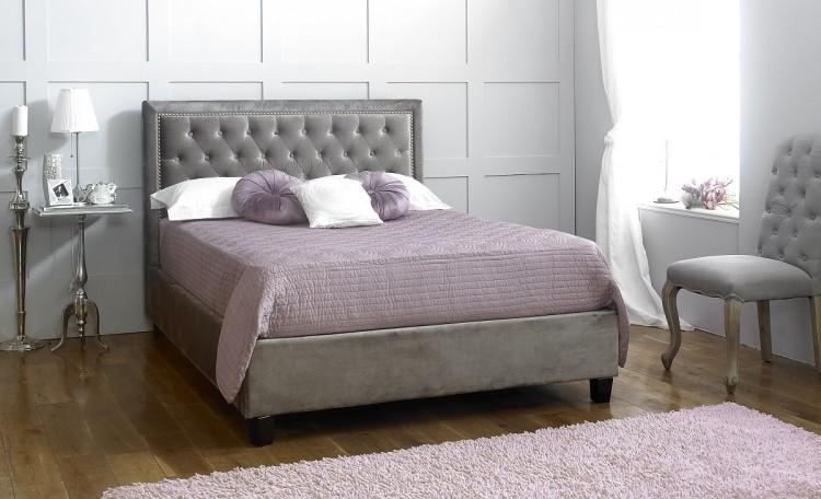 Limelight Rhea 4ft6 Double Plush Silver Velvet Fabric Bed