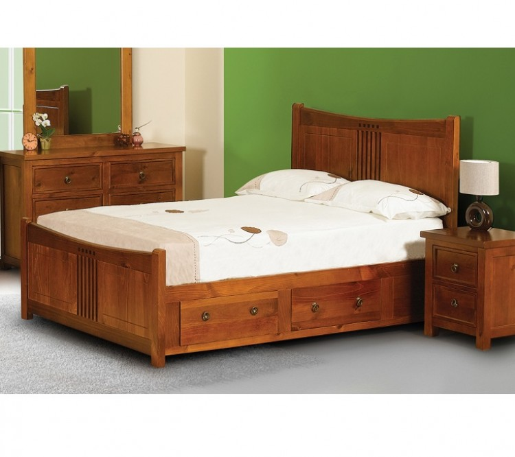 Sweet dreams curlew wild cherry 5ft king size wooden bed frame with under bed drawers - Wooden beds with drawers underneath ...