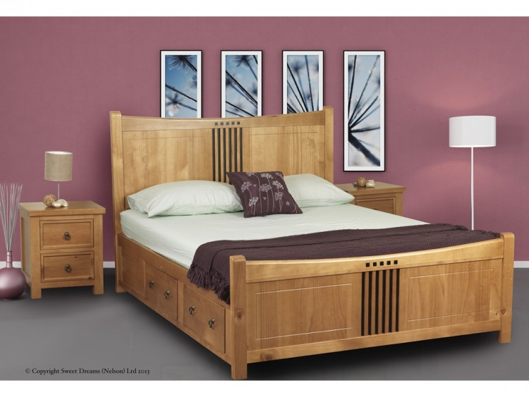 Sweet dreams curlew oak 5ft king size wooden bed frame with under bed drawers - Wooden beds with drawers underneath ...