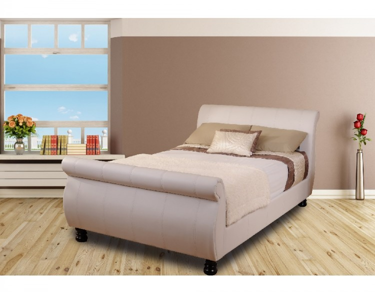 Sweet Dreams Mandarin 4ft6 Double White Faux Leather Bed