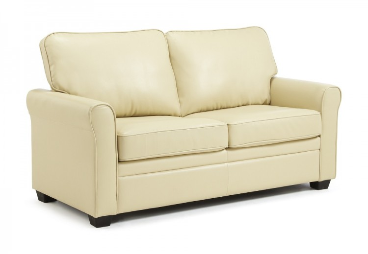 Serene Naples Cream Faux Leather Sofa Bed By Serene