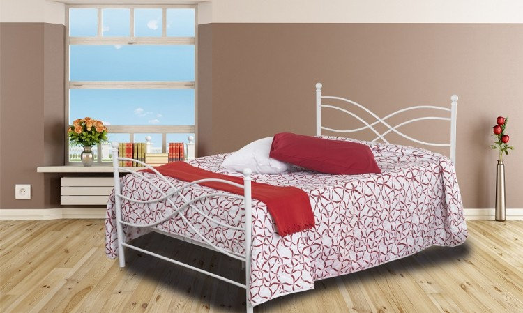 Sweet Dreams Rhombus 4ft6 Double White Metal Bed Frame By