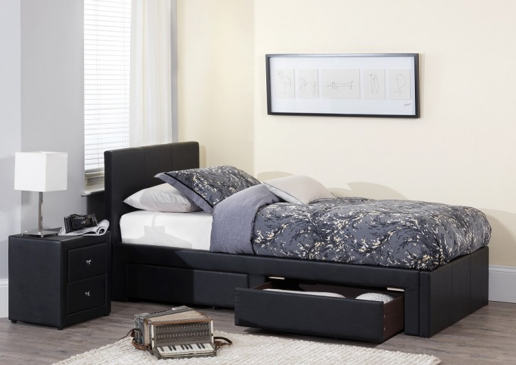 Serene Latino 3ft Single Black Faux Leather Bed Frame By