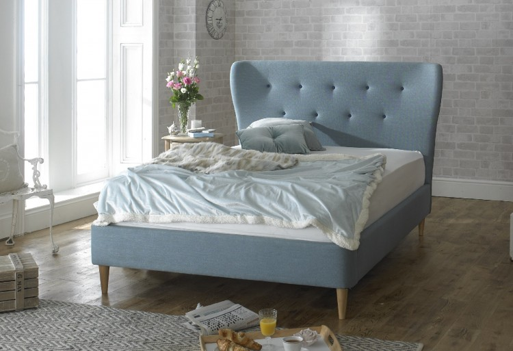 aurora 4ft6 double duck egg blue fabric bed frame by limelight beds