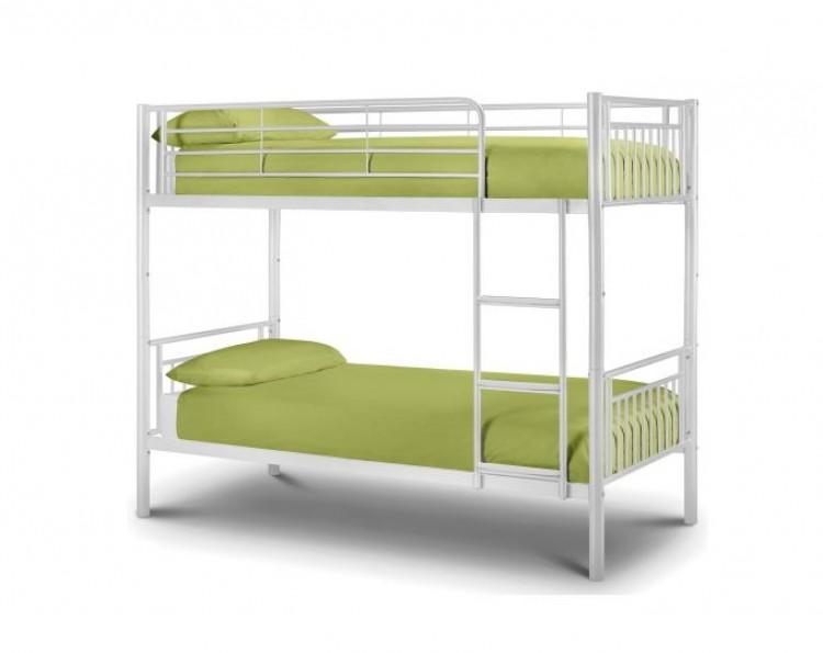 Julian bowen atlas white metal bunk bed by julian bowen for White metal bunk bed