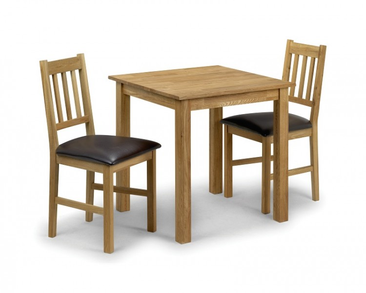 Julian Bowen Moor Square Dining Table Set In American White Oak With 2 Chairs By