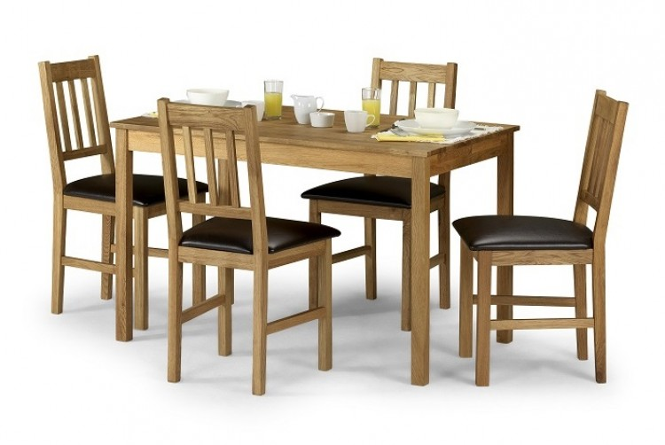 Julian Bowen Moor Rectangle Dining Table Set In American White Oak With 4 Chairs By
