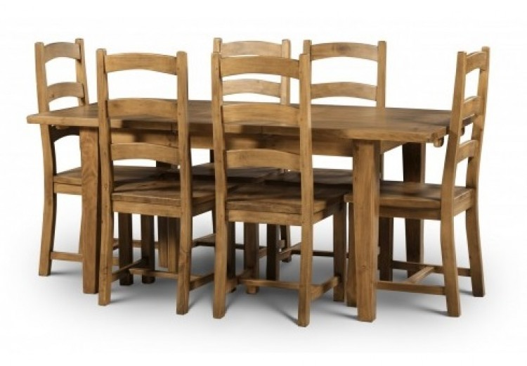 Julian Bowen Mayflower Extending Dining Table With 6 Chairs In Reclaimed Pine