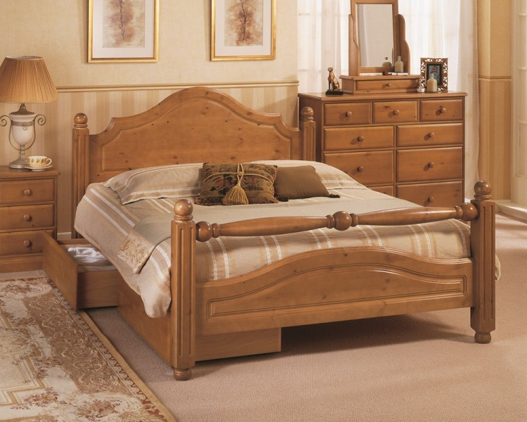 Airsprung Carolina 4ft6 Double High Footend Cinnamon Wooden Bed ...