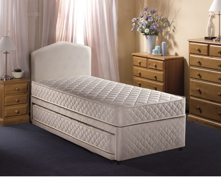 Airsprung quattro 2ft6 small single divan guest bed by for White single divan