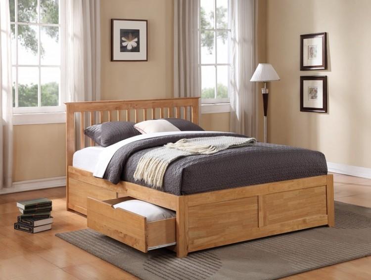 Flintshire Pentre 5ft Kingsize Oak Finish Bed With Drawers