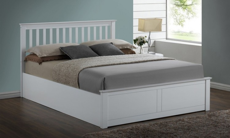 Flintshire Pentre 4ft6 Double White Wooden Ottoman Bed By