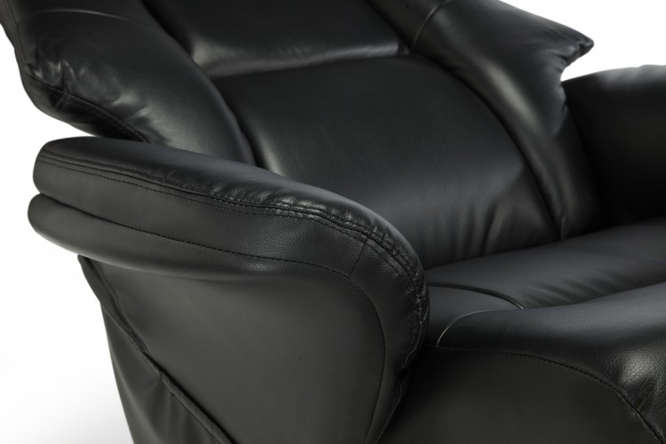 serene drammen black faux leather recliner chair with massage option