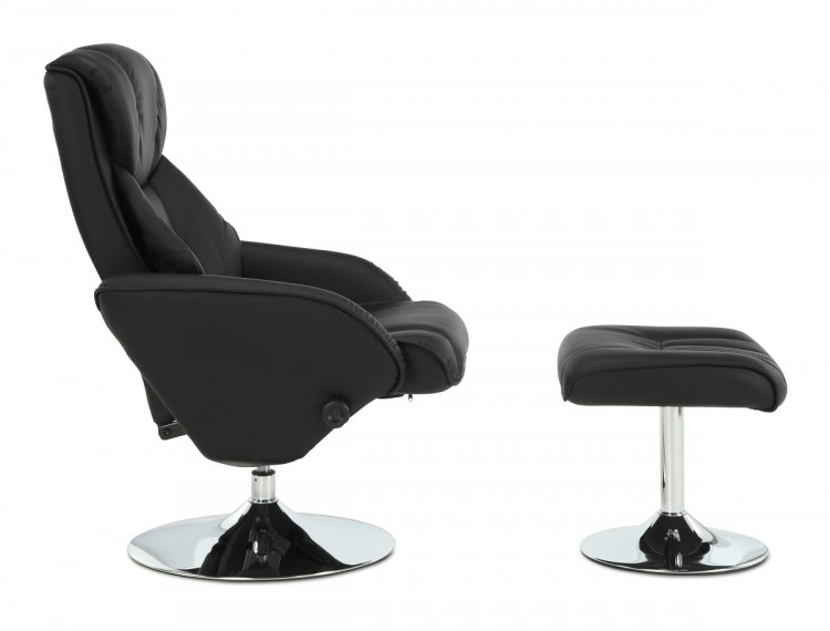 Black Faux Leather Chair: Serene Larvik Black Faux Leather Recliner Chair By Serene