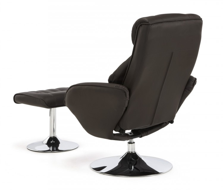 Serene Larvik Brown Faux Leather Recliner Chair By Serene