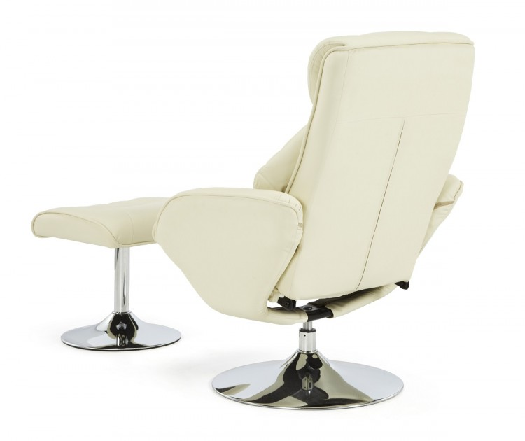serene larvik cream faux leather recliner chair by serene furnishings