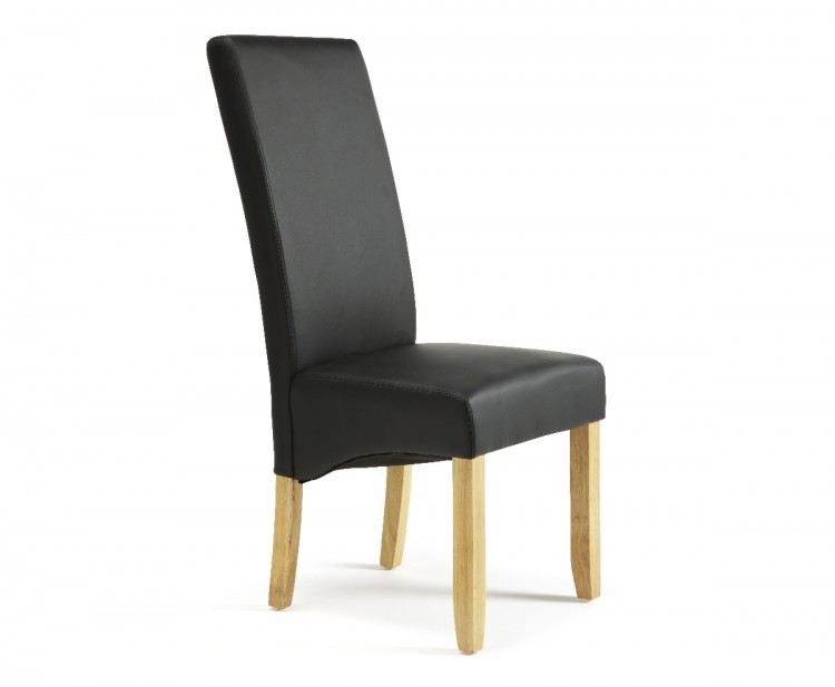 Fantastic Serene Merton Black Faux Leather Dining Chairs With Oak Legs Andrewgaddart Wooden Chair Designs For Living Room Andrewgaddartcom