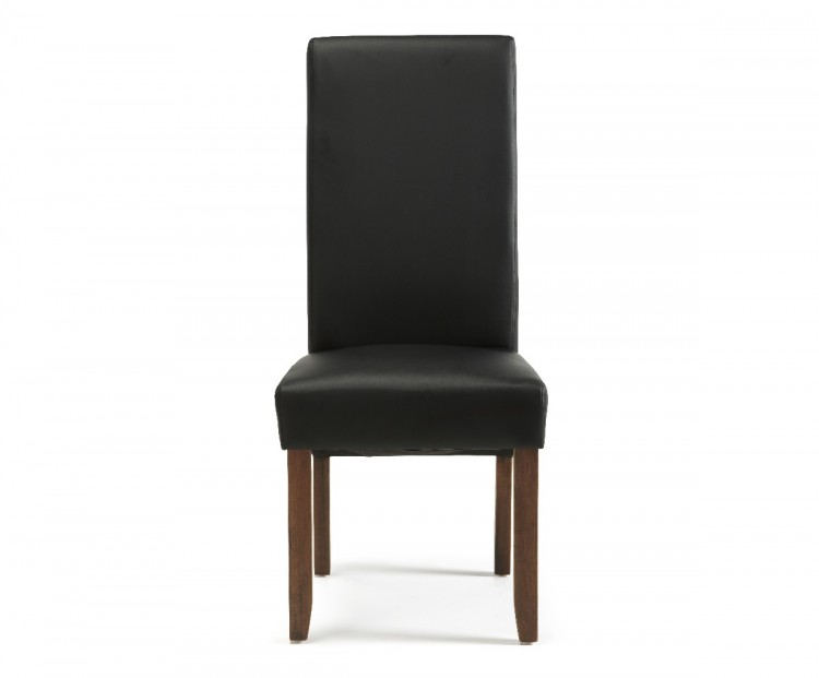 Black Faux Leather Chair: Serene Merton Black Faux Leather Dining Chairs With Walnut