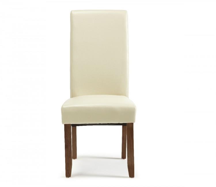 Cream Leather Dining Room Chairs: Serene Merton Cream Faux Leather Dining Chairs With Walnut
