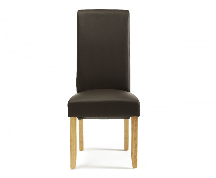 Serene Kingston Brown Faux Leather Dining Chairs With Oak