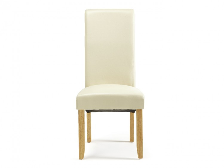 serene kingston cream faux leather dining chairs with oak legs pair