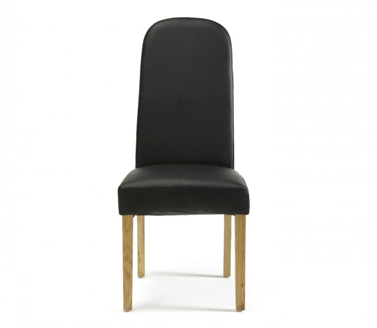 Serene Marlow Black Faux Leather Dining Chairs Pair By