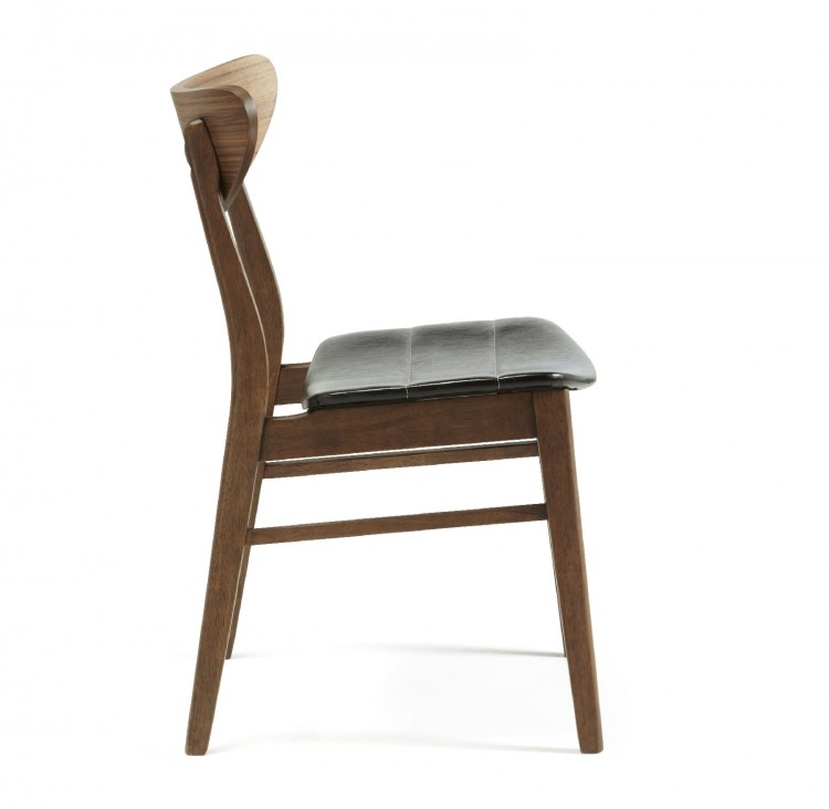 serene camden walnut finish dining chairs pair by serene furnishings